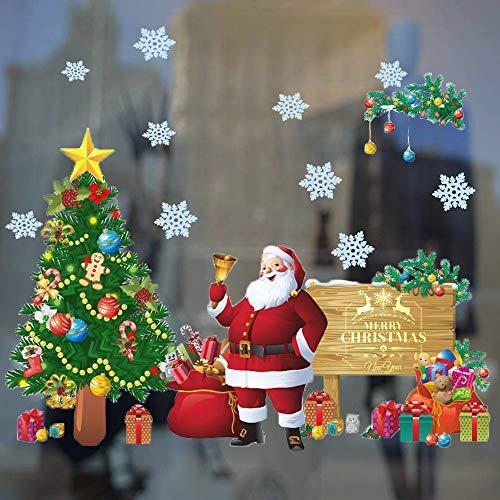 Wall Santa Claus (DaGou Christmas Decoration Windows Stickers Santa Claus Removable Vinyl Christmas Tree DIY Wall Window Door Mural Decal Sticker for Showcase)