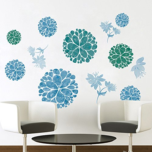 Amaonm Fashion 3D DIY Creative Blue Flowers Wall Decals Flow