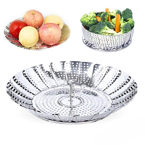 Vegetable Steamer 100% Stainless Steel Basket Seafood Steamer Food Steamer Pasta Steamer 7 to 11 for Various Size Pots By OIKA
