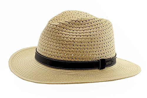 Scala Classico Men's Fashion Natural Toyo Braid Safari Hat Sz: - Hat Braid Toyo Wide