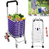 push cart basket - Folding Shopping Cart, Stair Climbing Grocery Laundry Utility Cart with Swivel Wheel Bearings, Transport Up to 177 Pounds -Water-Resistant Heavy Duty Canvas
