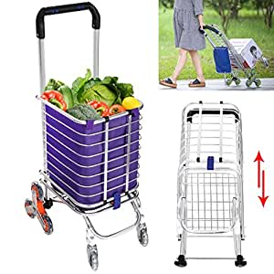 Folding Shopping Cart, Stair Climbing Grocery Laundry Utility Cart with Swivel Wheel Bearings, Transport Up to 177 Pounds -Water-Resistant Heavy Duty Canvas