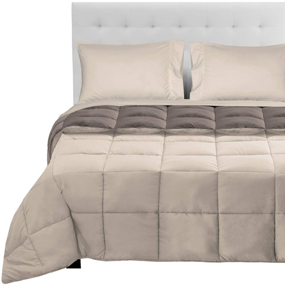 Taupe - Sand   Sand Full 5-Piece Reversible Bed-in-A-Bag - Queen (Comforter  Dark bluee Grey, Sheet Set  Grey)