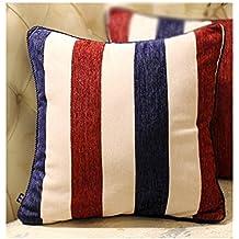 dream_home Mediterranean Style Stripe Chenille Pillowcase - Square Office Bed Sofa Throw Pillow Cover Cushion Red-blue 17.7 x 17.7 Inch