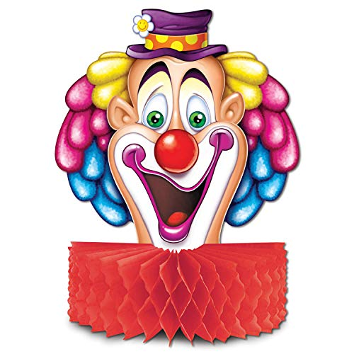 Beistle Club Pack Printed Clown Face With Tissue Collar Base Centerpiece, Box Contains 12 Centerpieces. ()
