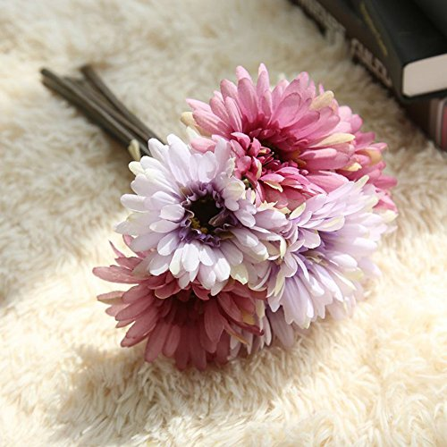 Artificial Gerbera Flower Artfen Artificial Daisy Flowers Bride Bridesmaid Holding Flowers 7 Stems Silk Daisies Flower for Wedding Bouquet Living Room Office Party Garden DIY Decoration Purple (Daisy Flower Purple)
