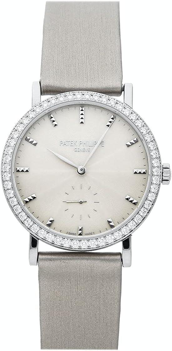 Patek Philippe Calatrava Cream Guilloche Dial 18kt White Gold Diamond Ladies Watch...