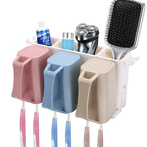 HOMEIDEAS Toothbrush Holder Wall Mount 3 Cups Electric Tooth
