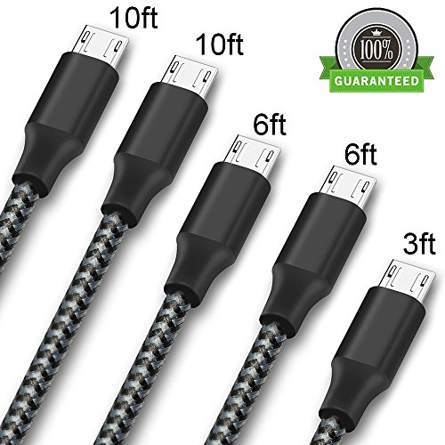 ONSON Micro USB Cable,5Pack 3FT 2X6FT 2X10FT Long Premium Nylon Braided Android Charger USB to Micro USB Charging Cable Samsung Charger Cord for Samsung Galaxy S7 Edge/S7/S6/S4/S3,Note 5/4/3-black