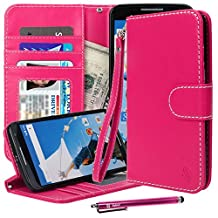Nexus 6 Case, Google Nexus 6 Wallet Case, Style4U Premium PU Leather Stand View Wallet Flip Case with ID Credit Card / Cash Slots for Google Nexus 6 + 1 Stylus and 1 Screen Protector [Hot Pink]