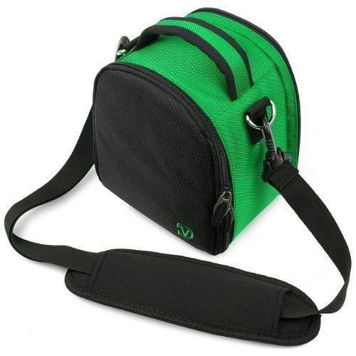 VanGoddy Laurel Carrying Bag for Panasonic Lumix DMC G7 / GH4 / G6 / G5 / GH3 / G3 / G10 / G2 / GH2 Mirrorless Digital SLR Cameras + Mini Tripod + Screen Protector (Dark Green)