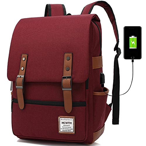 Travel Laptop Backpack, MCWTH Business Slim Durable Tablet Backpack with USB Charging Port, College Student School Computer Bag for Women & Men Fits 15.6 Inch Laptop and Notebook Wine