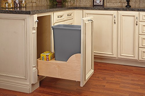 Rev-A-Shelf - 4WCSC-1550DM-1 - Single 50 Qt. Pull-Out Bottom Mount Wood and Silver Waste Container with Soft-Close Slides Rev A-shelf Door Storage Baskets