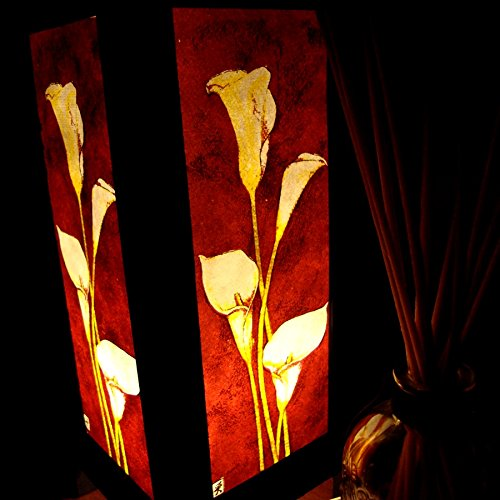 White Lily Flower Handmade Asian Oriental Wood Light Night Lamp Shade Table Desk Art Gift Home Vintage Bedroom Bedside Garden Living Room; Free Adapter; a Us 2 Pin Plug #512 by Apple-Heart (Image #3)