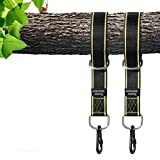 Tree Swing Straps Hanging Kit Holds 2800lbs, Fast & Easy Way to Hang Any Swing, 2 Tree Straps(5 FT) and 2 Safety Lock Carabiner Hooks, Perfect For Swings and Hammocks - 100% Waterproof (type 2)