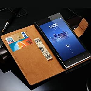 New 2015 Vintage Phone Bag For Xiaomi M3 Mi3 Wallet Style Genuine Leather Case With Stand 2 Card Holders 1 Bill Site --- Color:black