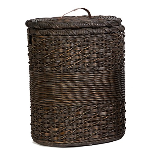 The Basket Lady Oval Wicker Laundry Hamper | Clothes Hamp...