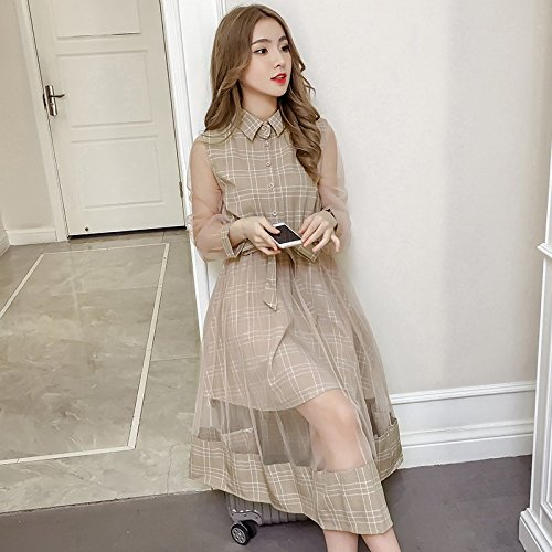 de 2018 Manches 2XL l't Grille Une Maille Femmes Robe Robe Couture Longue Kaki Jupe Robe de MiGMV et Jupe rtro Printemps Courtes H6wEY6Uq