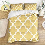 Picture It On Canvas Family Comfort Bed Sheet Yellow Geometry 4 Piece Bedding Sets Polyester Duvet Cover HypoallergenicOversized Bedspread,Queen Size