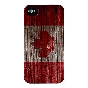 Bandera de madera de Canadá - Vintage bandera canadiense de alta calidad 3D funda de, snap-on para iPhone 4/4s por UltraFlags