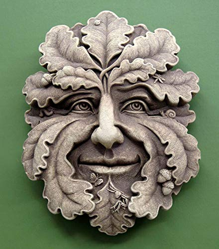 (KensingtonRow Home Collection Garden PLAQUES - Oak Leaf Green Man Stone Wall Sculpture - Aged Stone)