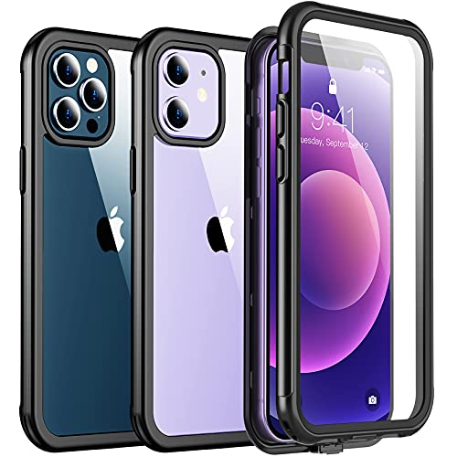 Redpepper Compatible with iPhone 12 Case iPhone 12 Pro Case, Full Body Rugged Protective Case with Built-in Screen Protector, Clear Case for iPhone 12 & iPhone 12 Pro 6.1 inch (Black/Clear)