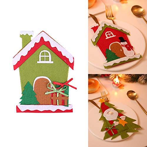 CHoppyWAVE Cutlery Pouch, Christmas Tree House Santa Elk Snowman Xmas Dinner Table Decor Spoon Knife Pouch - 4# by CHoppyWAVE (Image #5)