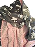 Paw Print Minky Baby Blanket. Dog Baby Blanket, Crib or Stroller Size Blanket