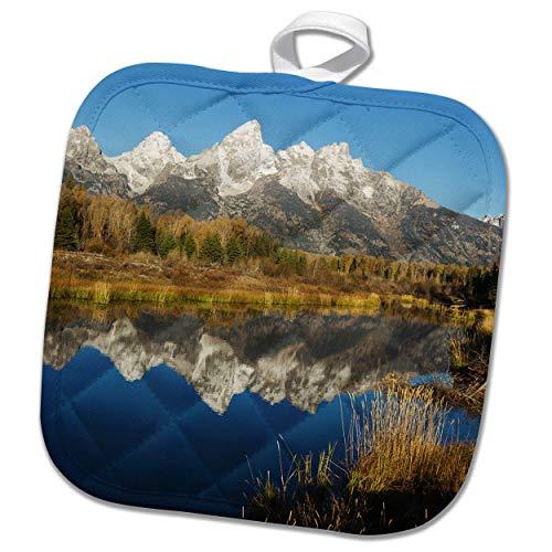 3dRose Danita Delimont - Grand Teton - Grand Tetons Reflecting in Beaver Pond - 8x8 Potholder (phl_315237_1)