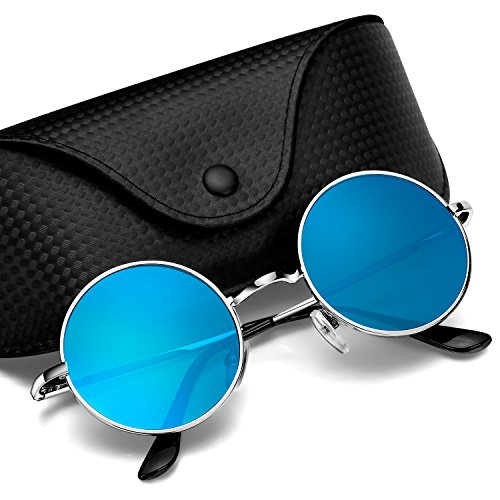 Argus Le Lennon Retro Round Sunglasses, Vintage Polarized Hipple Glasses with Plain Lens ()
