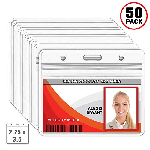 Holder Label Plastic Clear Cover (MIFFLIN Horizontal Badge Holder, Waterproof Plastic Card Holders (Clear, 2.25 x 3.5 inches, 50 Pack))