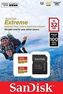 SanDisk 0 - Tarjeta de memoria SanDisk Extreme microSDHC de 32 GB para cámaras de deportes de acción más adaptador SD de hasta 100 MB/s, Class 10, U3, V30, A1 - Pack de 2 (, , rpm, 32, GB)