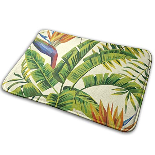 Anti-Slip Memory Foam Bath Mat - 16 x 24 inch, Extra Absorbent, Soft, Duarable and Quick-Dry Shaggy Mat, 3D Print Hawaiian Plant Color Flowers Floor Rugs Carpets