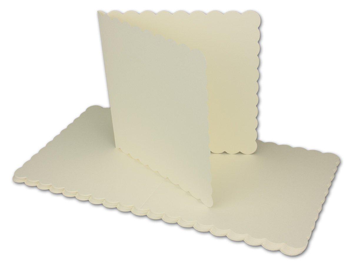 700x Quadratisches Falt-Karten-Set mit Wellen-Schnitt-Rand & Brief-Umschlägen Brief-Umschlägen Brief-Umschlägen I Farbe  Creme I 14,5 x 14,5 cm I Papier-Bastel-Set mit wellig gestanztem Rand I Gustav NEUSER® B07DW3PXXZ | 2019  2d8323