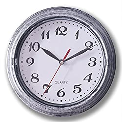 Smarten Arts - 8 Vintage Silver Silent Wall Clock, Metalic Look Non ticking Quartz Wall Clock For Home/School/Hotel/Office