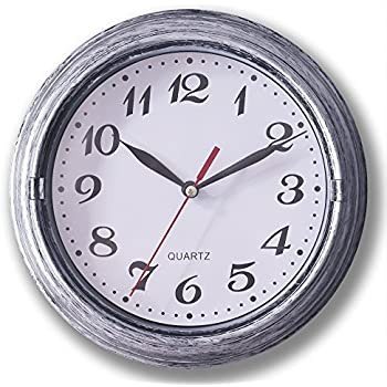 0aa2632288c Decorative Silent Wall Clock Non-ticking 8 Inches Round Quartz Battery  Operated Decor Wall Clock Vintage Silver Metalic Looking Large Number Easy  To Read ...