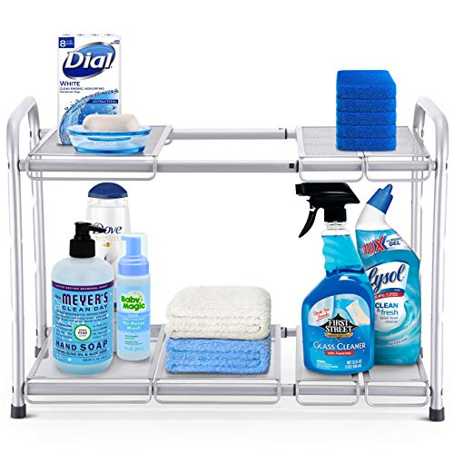 (Simple Trending 2-Tier Under Sink Expandable Cabinet Shelf Organizer Rack for Kitchen Bathroom Storage, Silver)