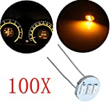 cciyu 100Pcs 4.7mm-12v Car Yellow Mini Bulbs Lamps Indicator Cluster Speedometer Backlight Lighting For GM GMC