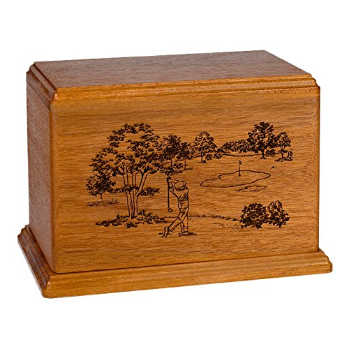 Wood Cremation Urn - Mahogany Golf by Memorials Forever