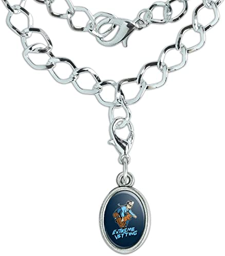 GRAPHICS /& MORE Baby On Skate Board Funny Humor Silver Plated Bracelet with Antiqued Oval Charm