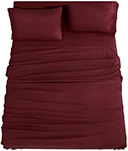 Sonoro Kate Bed Sheet Set Super Soft Microfiber 1800 Thread Count Luxury Egyptian Sheets 16-Inch Deep Pocket,Wrinkle and Hypoallergenic-3 Piece (Burgundy, Twin)