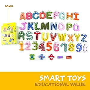 Joy Abc's | 40 Pcs Wooden Refrigerator Alphabet Letters and Numbers Magnets with Flash Card Bonus | Full Magnet at the Back and Safe Perfectly Shaped and Sized for Kids Toddler | Packed in a Tote Bag - 51pO3Bgzn9L - Joy Abc's Magnetic Letters and Numbers for Toddlers, Wooden ABC Toys for Educating Kids Preschool Learning Counting Spelling Games, Refrigerator Fridge Magnets Educational Toy Set with e-Book, 41 pcs