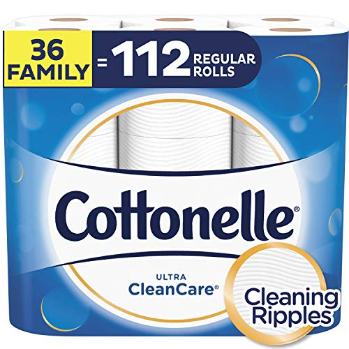 Cottonelle Ultra CleanCare Toilet Paper, Strong Bath Tissue, Septic-Safe, 36 Family+ Rolls ()