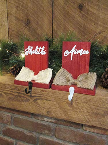 Christmas home decor - personalized stocking hanger - CUSTOMIZED COLORS! - custom holiday decor - mantel stocking labels - stocking holders from Perryhill Rustics LLC