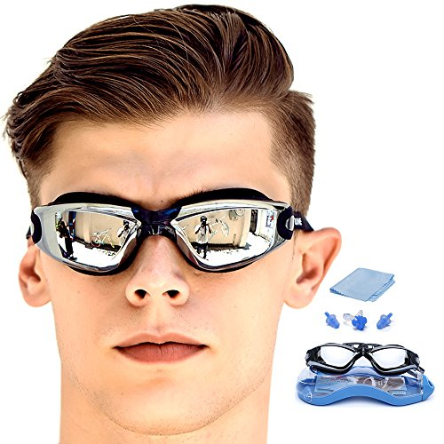 GAOGE Swimming Goggles ,Swim Goggles Clear No Leaking Anti Fog UV Protection Triathlon with Free Nose Clip, Ear Plugs Protection Case for Adult Men Women Youth Kids Child