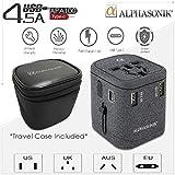 Alphasonik - Adaptador Universal de Corriente de Viaje Internacional para 4 Puertos USB Tipo C (Carga rápida, 3,0 A), New Black, Negro