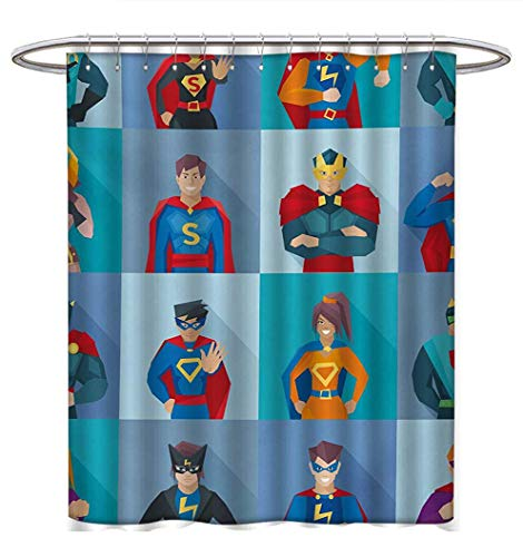 Anhuthree Superhero Shower Curtains with Shower Hooks Characters with Supernatural Powers in Special Costumes Comic Strip Humor Print Satin Fabric Bathroom Washable W48 x L84 Multicolor ()