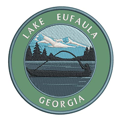 Bass Fishing Lake Eufaula Georgia Vinyl Embroidered DIY Iron or Sew-on Decorative Patch Badge Appliques ~ Lake Life Outdoor Series