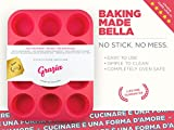 Grazia Silicone Muffin Pan, Red, 12-Cup