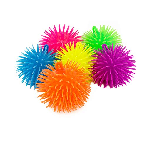 Charmed Soft Squeeze Puffer Balls in Assorted bright Colors, Fun Fidget Sensory Toy, Awesome Party Favor, Gift Bag Filler, Pack of 6